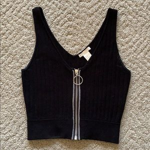 XS H&M Zip-Front Knit Crop Top